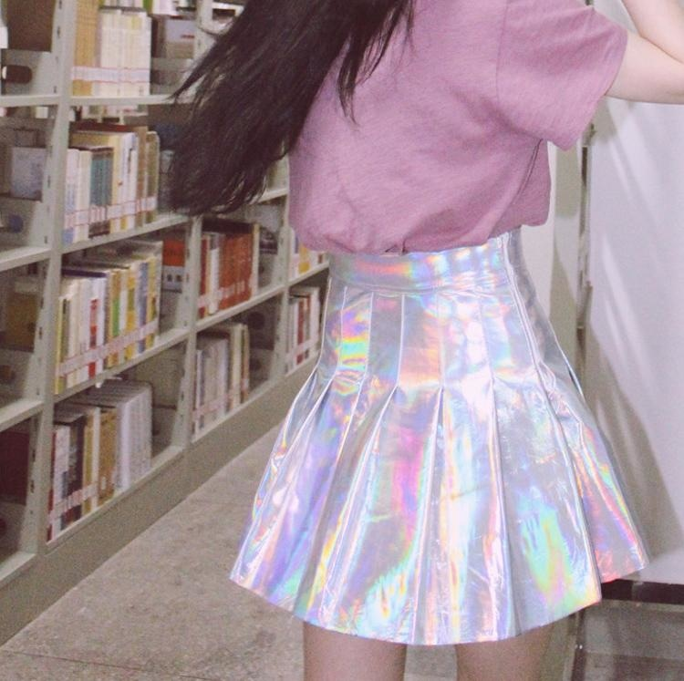 Holographic Pleated Skirt - Skirts