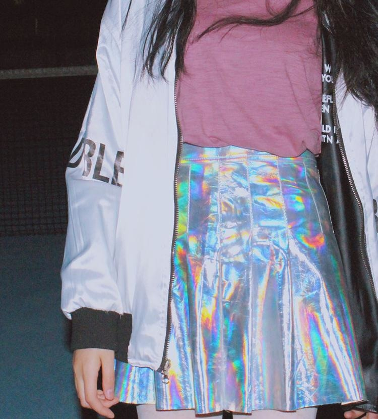 Holographic Silver Harajuku Pleated Mini Skirt J-Fashion Kawaii