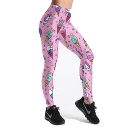 Kawaii Pink Ice-cream Sprinkles Yoga Pants Leggings Athletic Fitness Cute Fashion
