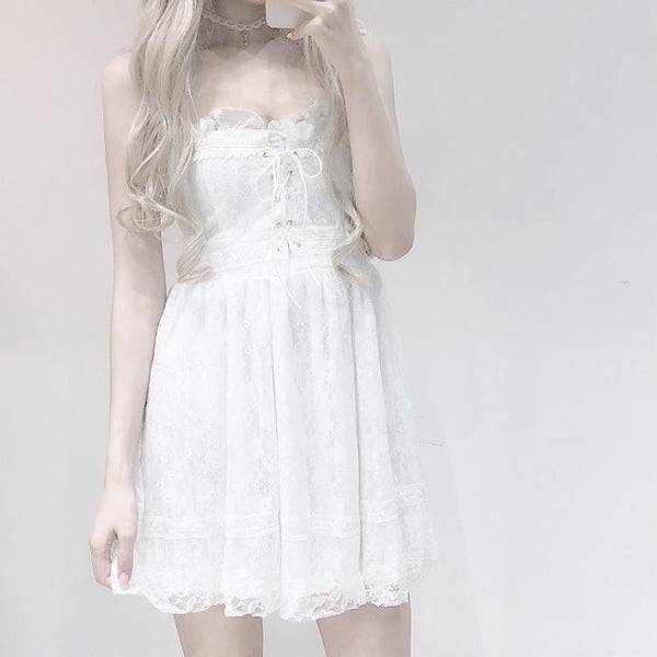 White Lace Bridal Shower Dress Innocent Bride Ruffles Lace Up Elegant Kawaii Dresses