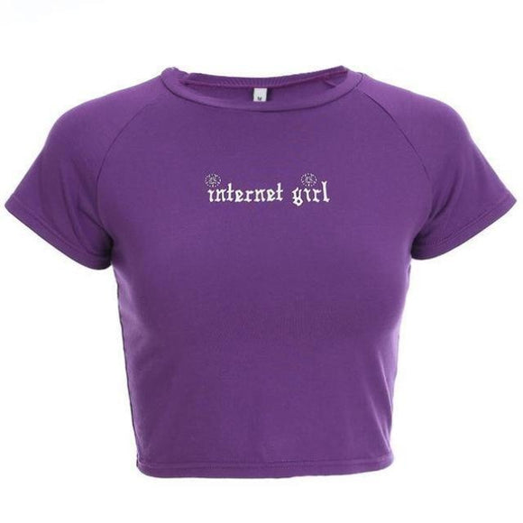 Purple Internet Girl Crop Top Belly Shirt T-shirt Sexy Short Sleeve Tumblr Princess