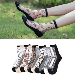 Transparent Clear Nylon Flower Socks Ankle Stockings Floral Roses Invisible