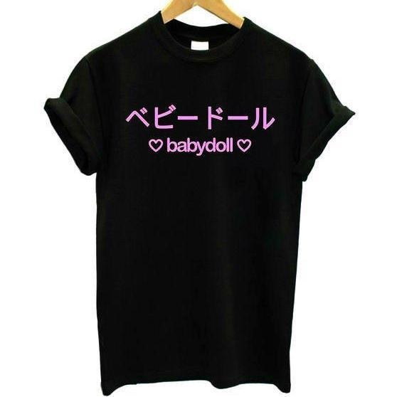 japanese babydoll t-shirt tee top shirt japan writing hearts abdl kink fetish harajuku style clothing cgl
