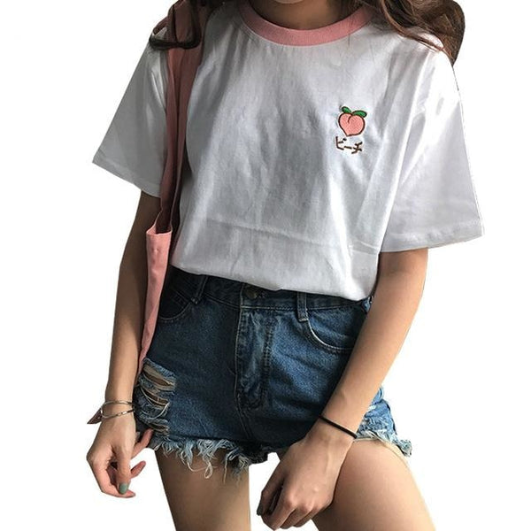 Korean Fruit T-Shirt Tee Top Embroidered Peach Harajuku Japan Fashion
