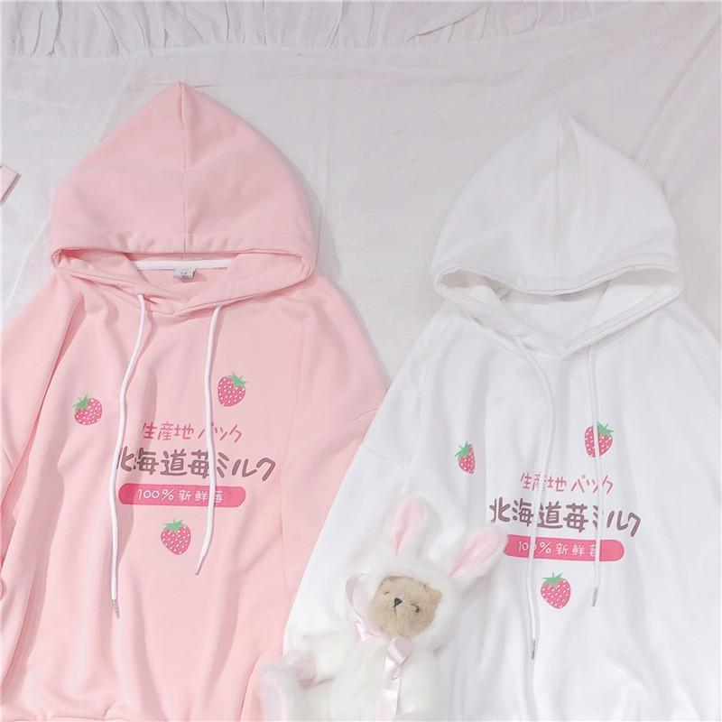Japanese Strawberry Hoodie - sweater