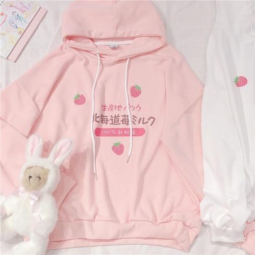 Japanese Strawberry Hoodie - Pink / M - sweater
