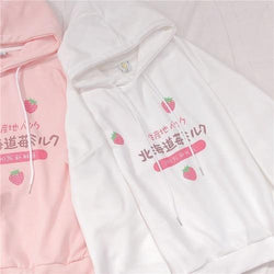 Japanese Strawberry Hoodie - White / S - sweater
