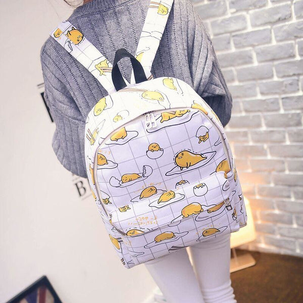Sanrio Gudetama Kawaii Egg Backpack Book Bag Knapsack Ruck Sack Egg Yolk Cute Harajuku Japan Fashion