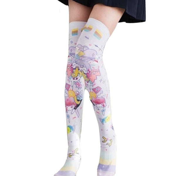 Sweet Lolita Fairy Kei Anime Girl Stockings Knee High Socks Thigh Highs Cute Kawaii Harajuku Fashion