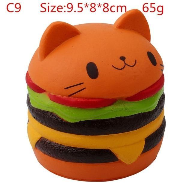 Kawaii Squishies (40+ Styles) - 9.5cm Brown Hamburger Cat - squishy