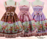 kawaii baby deer fawn lolita dress bambi pastel fairy kei sweet lolita style fashion chocolate brown lavender pink