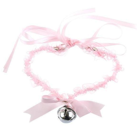 Pink Cat Collar Bell Choker Necklace Pet Play Kitten Play Kitty Neko Cosplay Costume