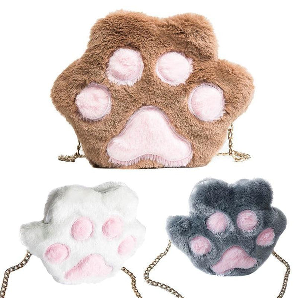 Kitty Cat Paw Purse Handbag Messenger Bag Fuzzy Furry Vegan Fur Soft Kawaii Fashion