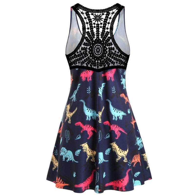 Navy Blue Kawaii Dinosaur Dress Plus Sized Cute Fashion ABDL Ageplay Lace Back