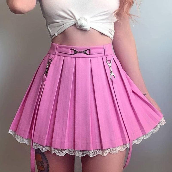 Lace Hemmed Pleated Skirt - belted, lace trim, pink skirt, pleated skirts