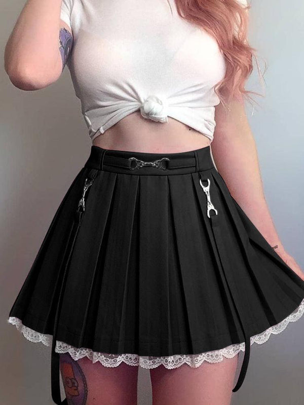 Lace Hemmed Pleated Skirt - Black / M - belted, lace trim, pink skirt, pleated skirts