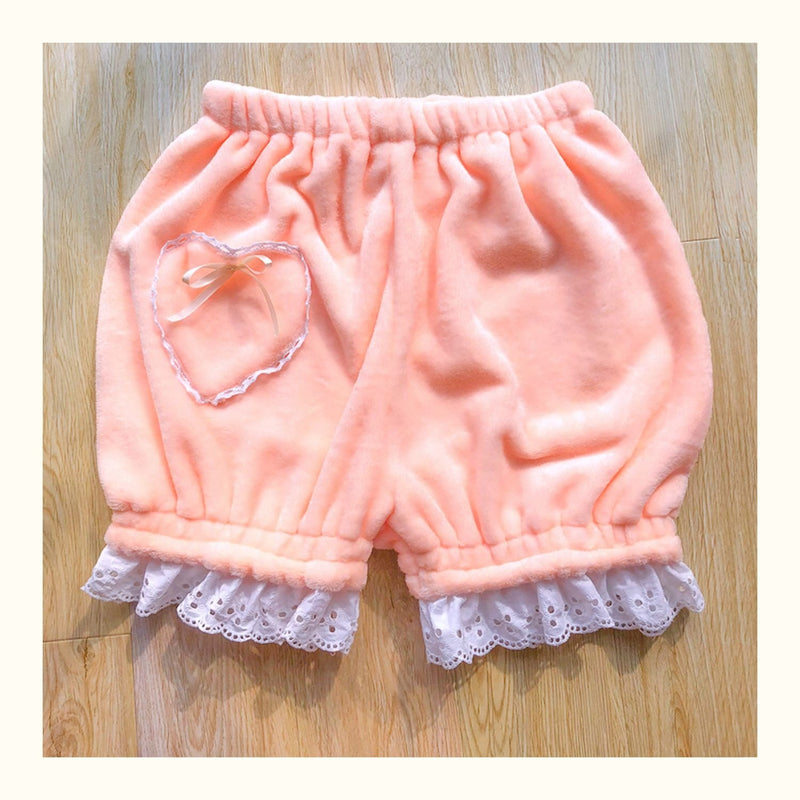 Lace Trim Bloomers - Peach - bloomer shorts, bloomers, bow knot, bows, elastic waist