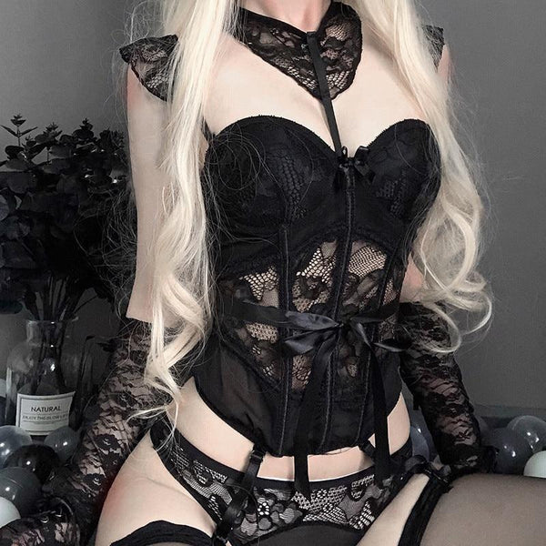 Goth Black Lace Lingerie Set Corset Bustier Bra Panties Sexy Seduction Bodice