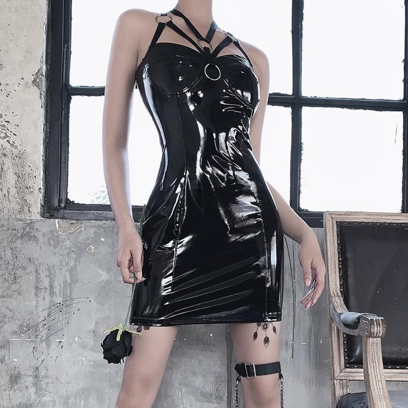 Latex Harness Dress - black, dinosaurs, dress, dresses, fetish