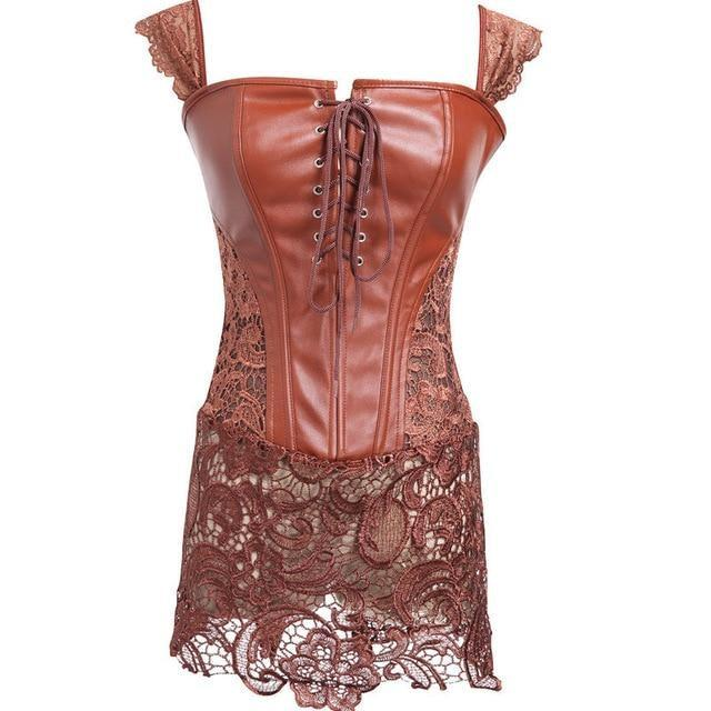 Latex & Lace Corset Dress (Up to 6XL) - Brown / 4XL - shirt
