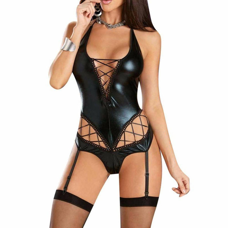 Latex Peekaboo Bodysuit - latex