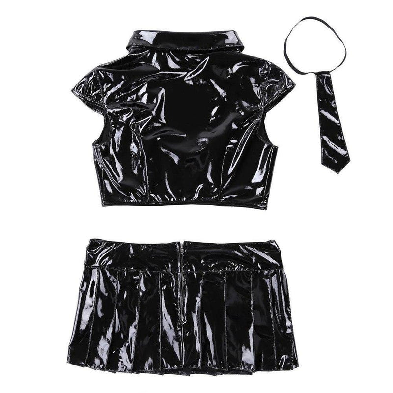 Black Latex School Girl Outfit Costume BDSM Fetish Kink Seduction Sex Cosplay by DDLG Playground