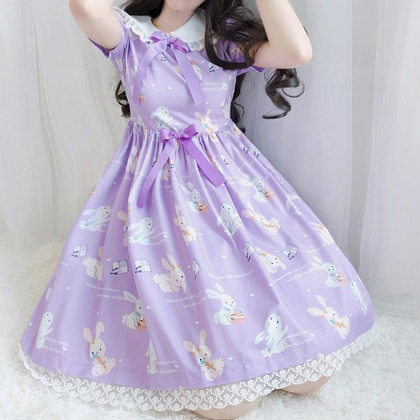 Lavender Bunny Lolita Dress - dress, dresses, fairy kei, jsk, kawaii