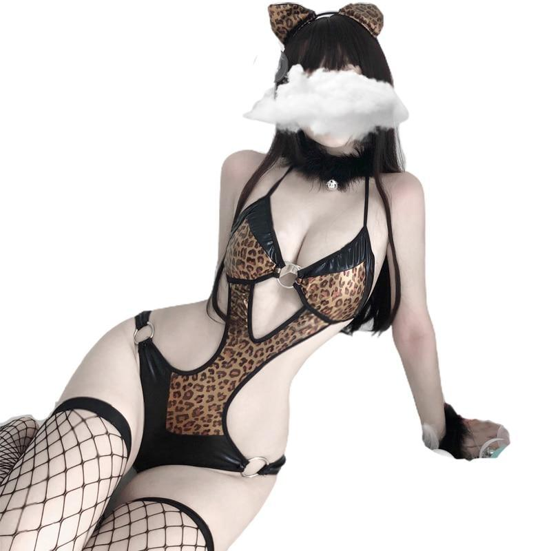 Little Leopard Lingerie Set - bodysuit, cat, cats, fishnet, kitten