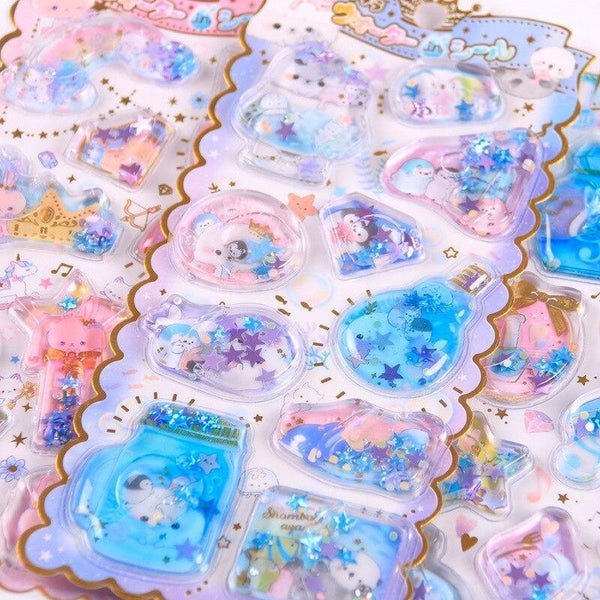 Liquid Glitter Stickers - One Piece - stickers
