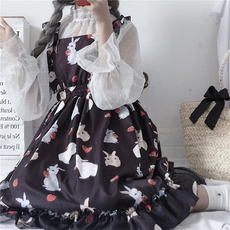 Kawaii Baby Bunny Rabbit Suspender Dress Black Bunnies Lolita Princess Fashion