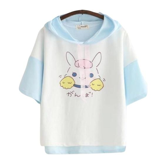 Kawaii Fairy Kei Little Bunny Rabbit T-Shirt Crop Top Cropped Tee Hoodie Hooded Sweater Short Sleeve Harajuku Fashion