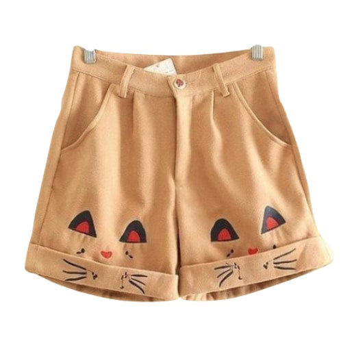 brown kitty cat khaki shorts mori girl fashion japan harajuku style youthful young