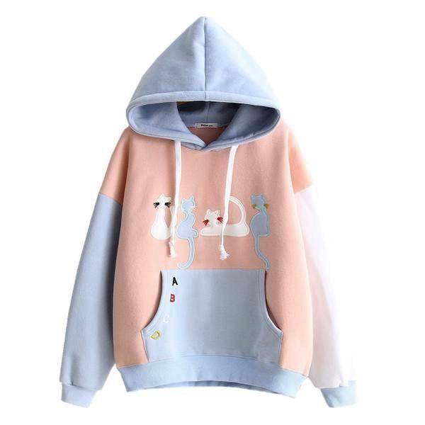 Little Neko Kitty Cat Kitten Hoodie Hooded Sweatshirt Pullover Kangaroo Pouch Pocket Drawstring Little Space Pastel Fairy Kei Kawaii
