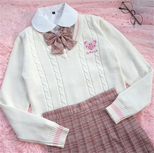 Kawaii Piggy Piglet Pig Sweater Vest Sweatshirt Knit Long Sleeve V-Neck Pastel Fairy Kei Cute Fashion