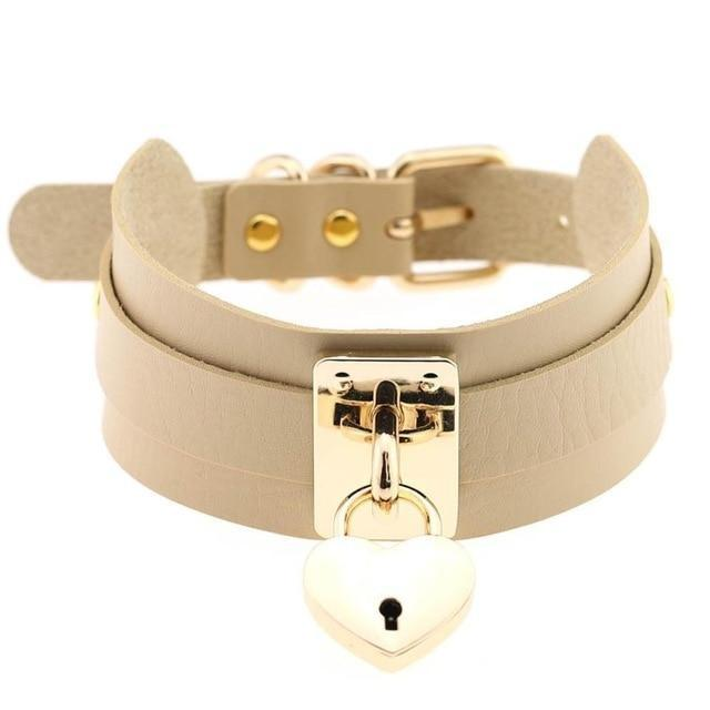 Locket Collar - Beige - collar