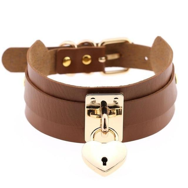 Locket Collar - Brown - collar