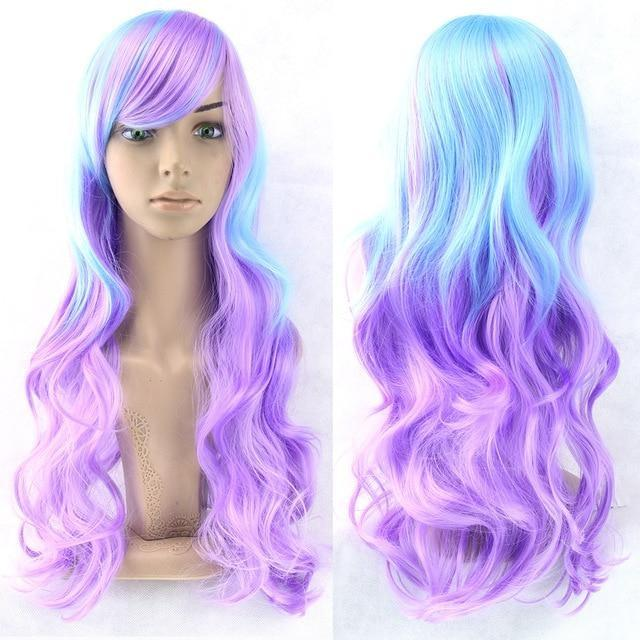 Long Cotton Candy Wig - Blue & Purple - wig