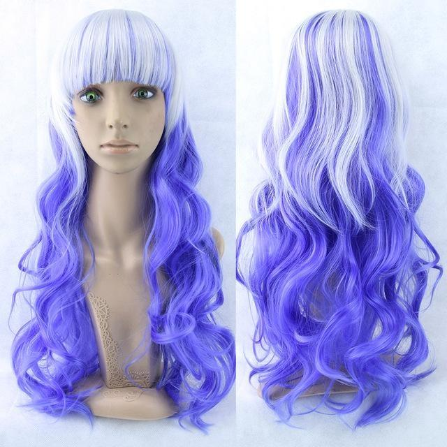Long Cotton Candy Wig - Blue & White - wig