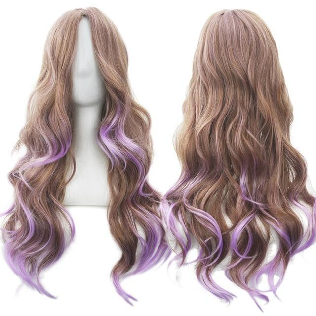 Long Cotton Candy Wig - Brown & Purple - wig