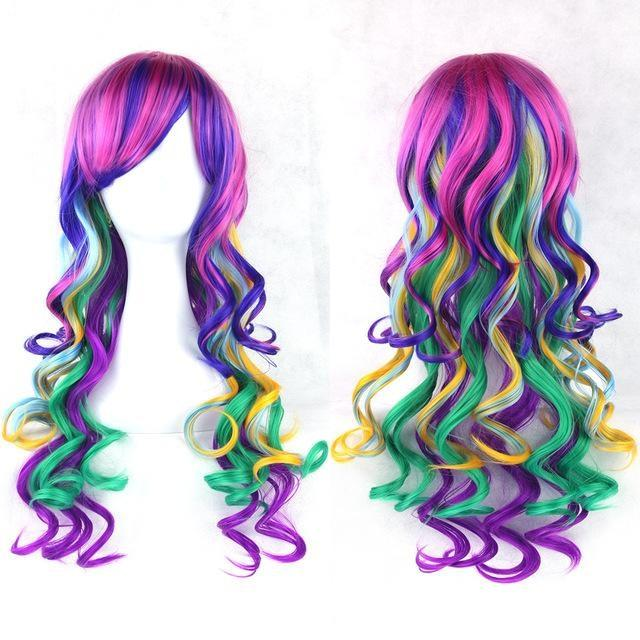 Long Cotton Candy Wig - Rainbow - wig