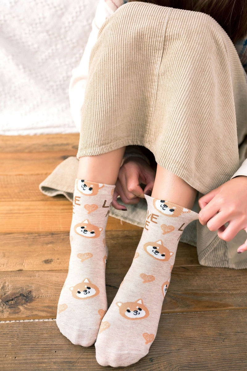 Love Me Sockies - Beige Corgi Puppy - ankle socks, baby bear, bears, cats