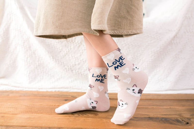 Love Me Sockies - Beige Kittens - ankle socks, baby bear, bears, cats