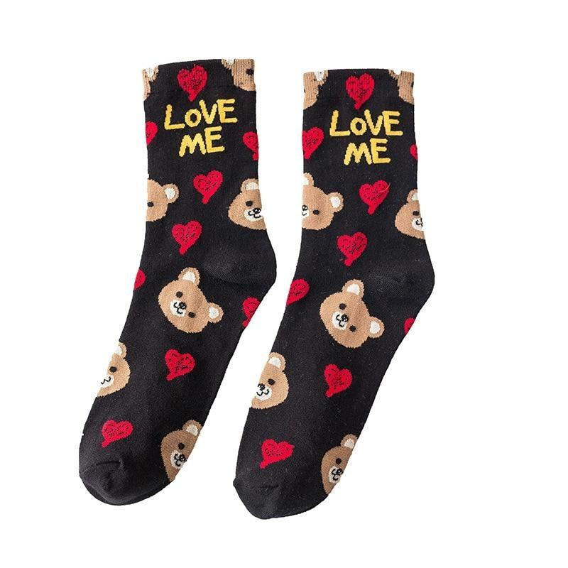 Love Me Sockies - Black Rilakkuma - ankle socks, baby bear, bears, cats
