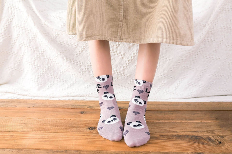 Love Me Sockies - Khaki Panda Bear - ankle socks, baby bear, bears, cats