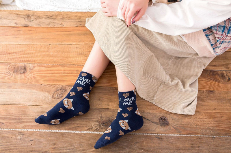 Love Me Sockies - Navy Baby Fox - ankle socks, baby bear, bears, cats