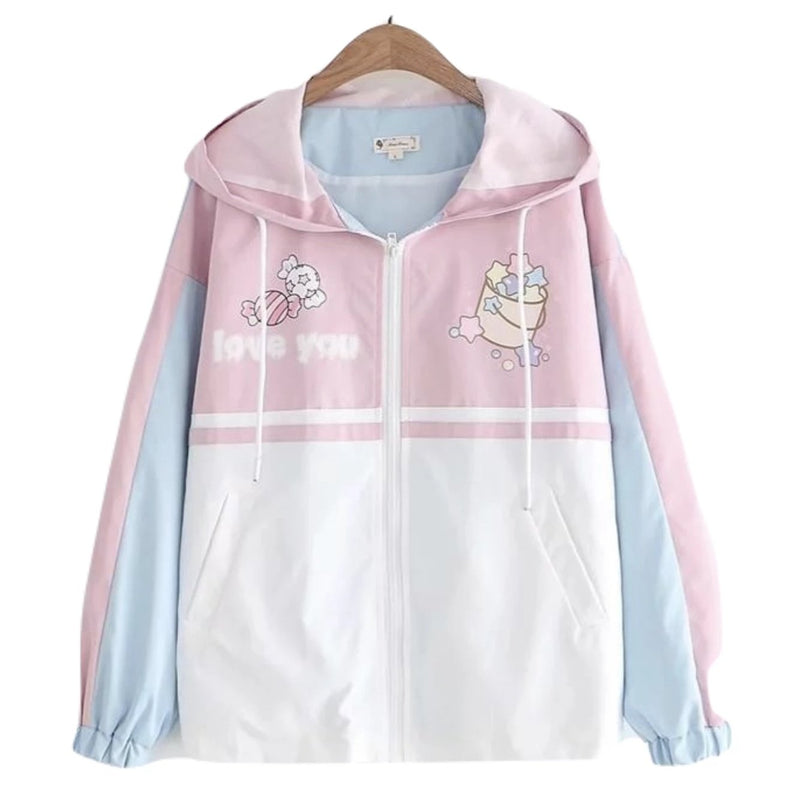 Love You Little One Windbreaker - Pink / L - coat