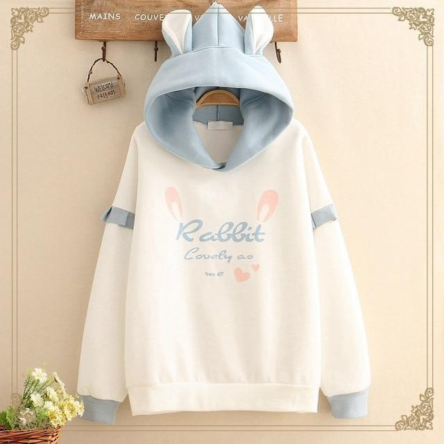 Lovely Rabbit Hoodie - Blue bunny - sweater
