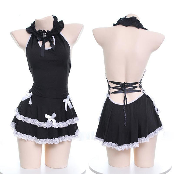 Black Lolita Maid Dress Cosplay Roleplay Sexy Lingerie
