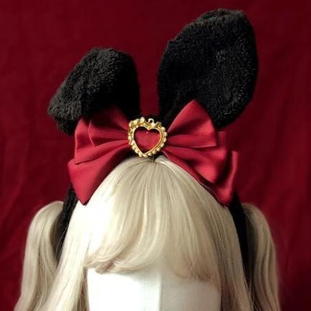 Luxury Bunny Headband - Red & Black - bags