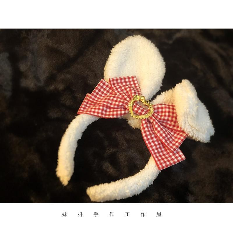 Luxury Bunny Headband - Red Plaid - bags